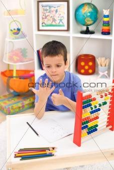 Little boy preparing for elementary school