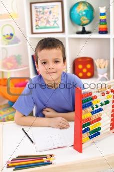 Boy preparing for elementary school