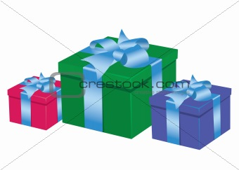 Three boxes with presents