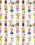 cartoon cat family seamless pattern