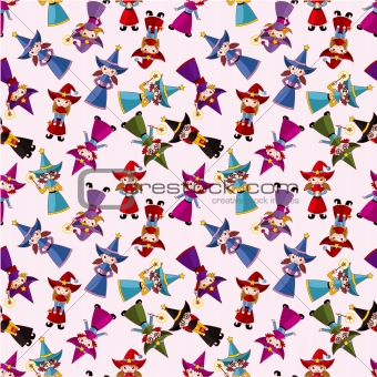 cartoon Wizard and Witch magic seamless pattern