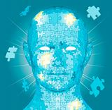 Jigsaw puzzle pieces head