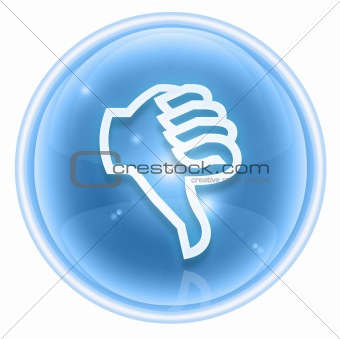 thumb down icon ice, isolated on white background.