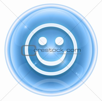 Smiley icon ice, isolated on white background.