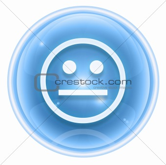 Smiley icon ice, isolated on white background.