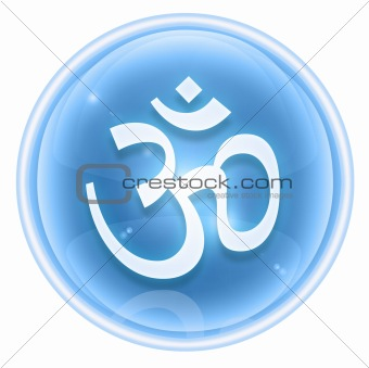 Om Symbol icon ice, isolated on white background.