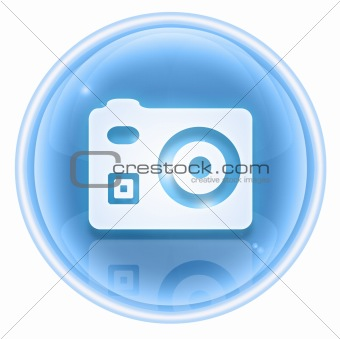 Camera icon ice, isolated on white background
