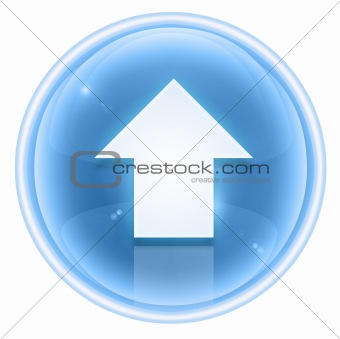 Arrow up icon ice, isolated on white background.