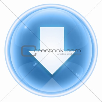 Arrow down icon ice, isolated on white background.