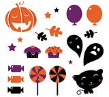 Halloween icons and retro elements isolated on white - orange &