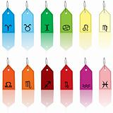 Colored tags with zodiacal signs