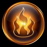 fire icon gold isolated on black background