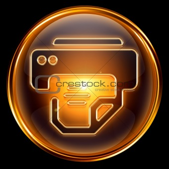 printer icon gold, isolated on white background.
