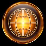 World icon gold, isolated on black background