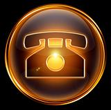 phone icon gold, isolated on black background.