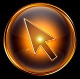 cursor icon gold, isolated on black background