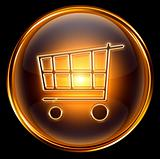 shopping cart icon gold, isolated on black background