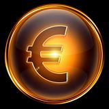 euro icon gold, isolated on black background.