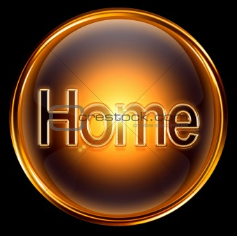 Home icon gold, isolated on black background.