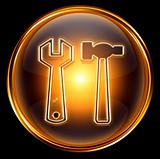 Tools icon gold, isolated on black background