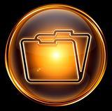 Folder icon gold, isolated on black background