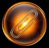 Paperclip icon gold, isolated on black background