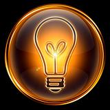 Bulb icon gold, isolated on black background