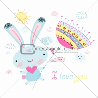greeting card with the bunny