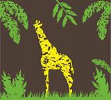 vector grunge giraffe