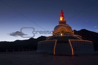Santi Stupa in Leh at Night