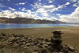 Religious Rock Formation near Pangong Lake, Ladakh, India