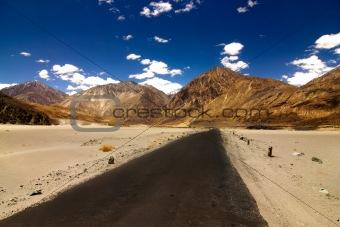 Roads in the barren land of ladakh