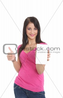 Young girl thumbs up with a product