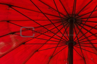 old red umbrella in the Thailand rustic market