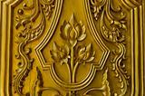 gold lotus door in Thailand's temple
