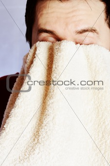 Man with towel.
