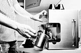 Making espresso.