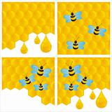 honeycombs backgrounds with bees