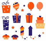 Birthday icons & elements collection isolated on white ( blue, r