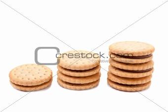Three staks of cookies