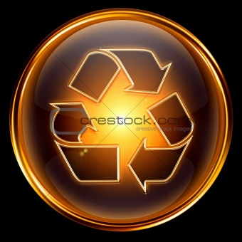 Recycling symbol icon gold, isolated on black background.