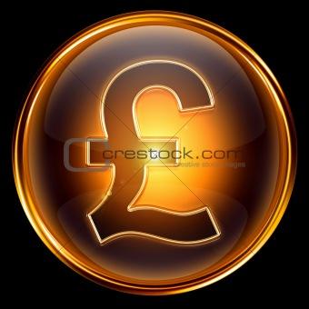 Pound icon golden.