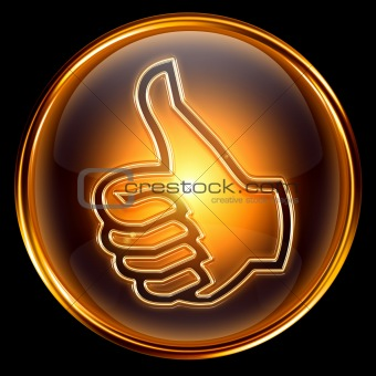 thumb up icon golden, isolated on black background