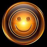 Smile icon golden, isolated on black background
