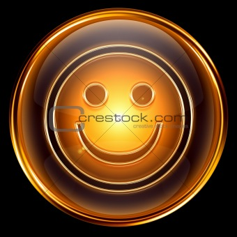 Smile icon golden, isolated on black background