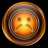 Smiley dissatisfied icon golden, isolated on black background.