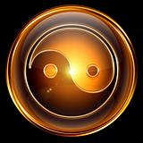 yin yang symbol icon golden, isolated on black background.