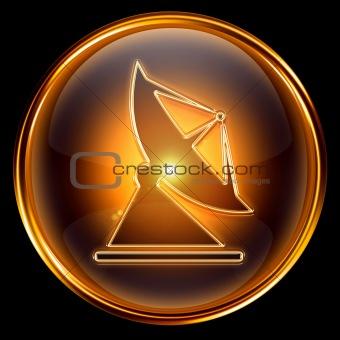 Antenna icon golden, isolated on black background.