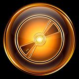 Compact Disc icon golden, isolated on black background.