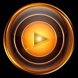 Play icon gold, isolated on black background